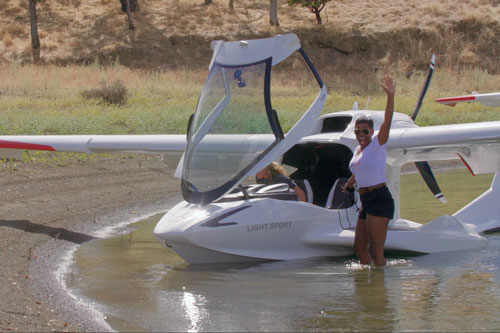 The seaplane has landed. Photo of the ICON A5 beaching at Lake Berryessa in Northern California.